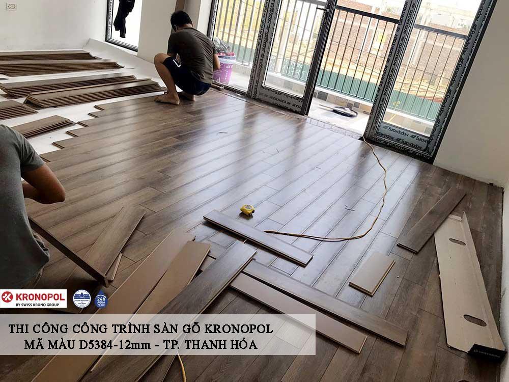 quá trình thi công sàn gỗ