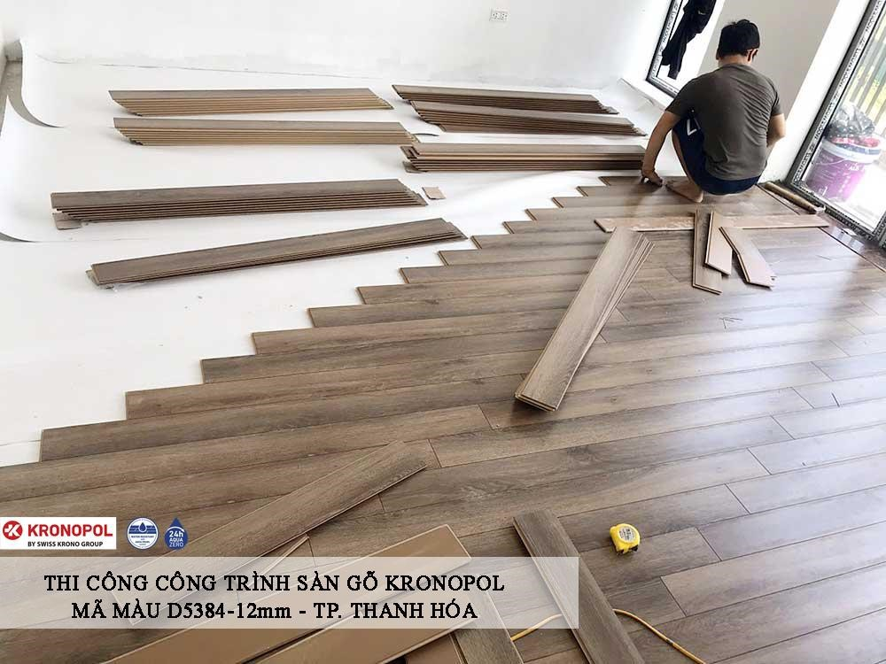 hình ảnh thi công sàn gỗ Kromopol
