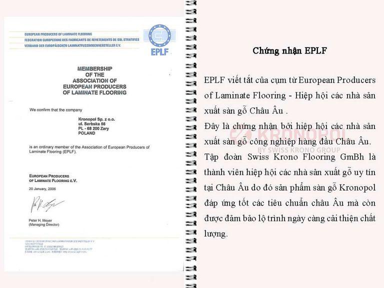 Chứng nhận EPLF