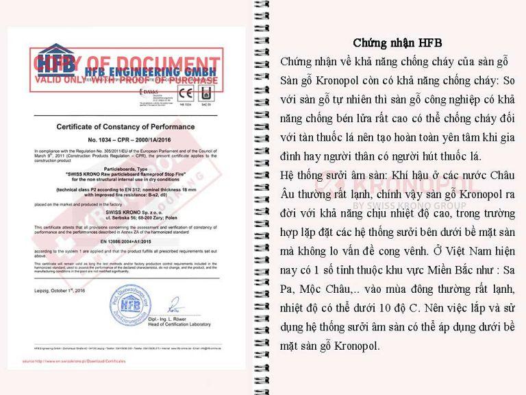 Chứng nhận HFB chất lượng Sàn gỗ Kronopol