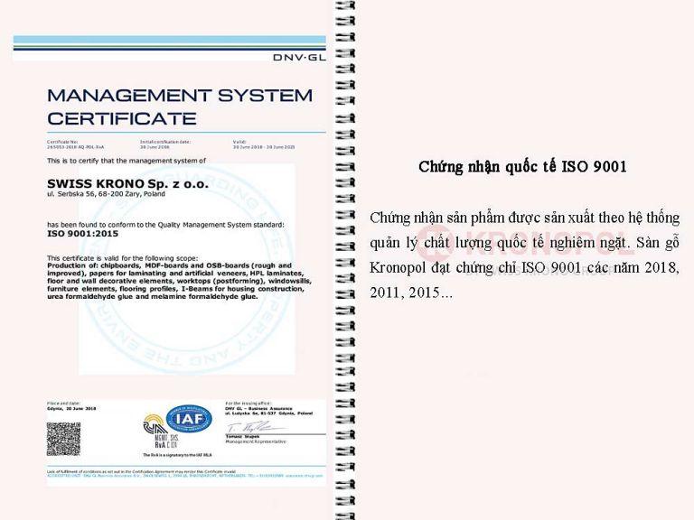 Chứng nhận quốc tế ISO 9001 chất lượng Sàn gỗ Kronopol