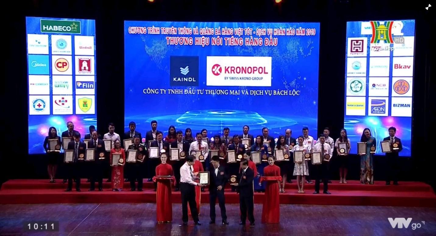 Kronopol Vinh Danh Top 20 Thương Hiệu Nổi Tiếng Hàng Đầu Việt Nam 2019