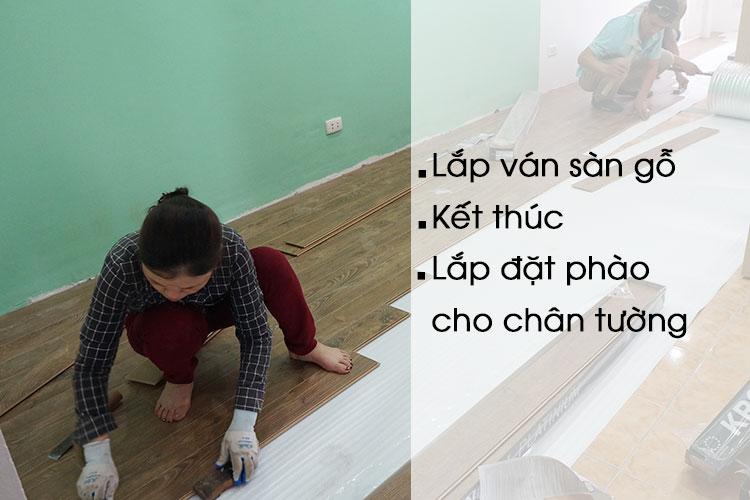 Tiến hành lắp đặt sàn gỗ công nghiệp