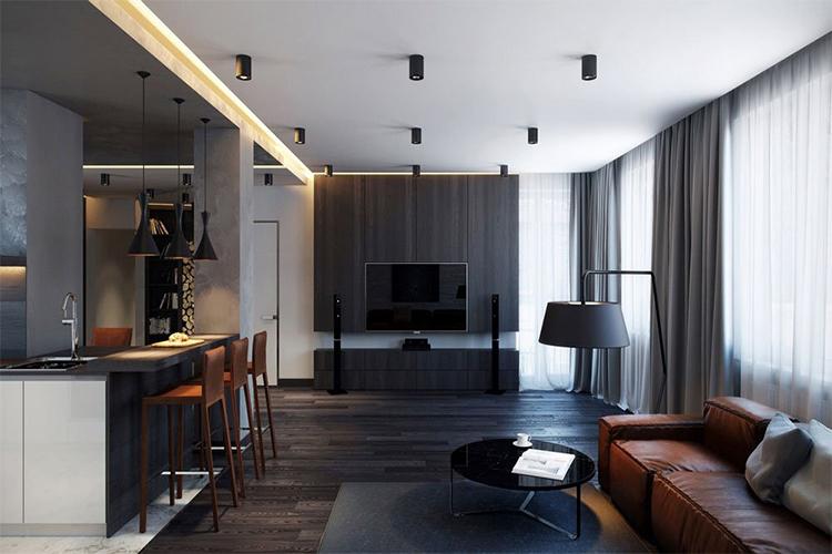 Kết hợp nội thất với sàn gỗ màu đen