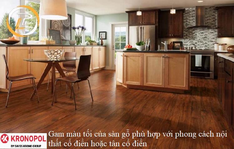 Gam màu tối của sàn gỗ phù hợp với phong cách nội thất cổ điển hoặc tân cổ điển