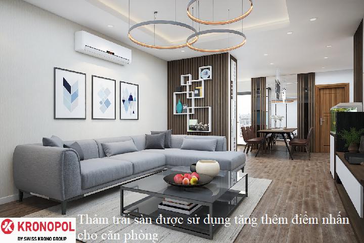 Thảm trải sàn được sử dụng tăng thêm điểm nhấn cho căn phòng