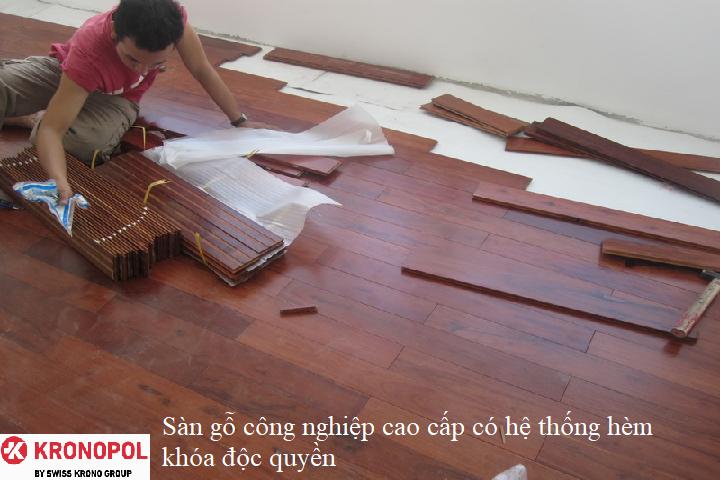 Sàn gỗ công nghiệp cao cấp có hệ thống hèm khóa độc quyền