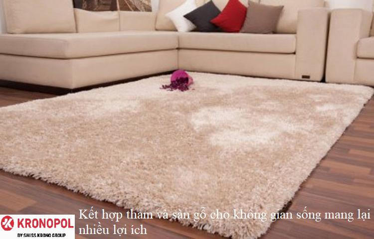 Kết hợp thảm và sàn gỗ cho không gian sống mang lại nhiều lợi ích