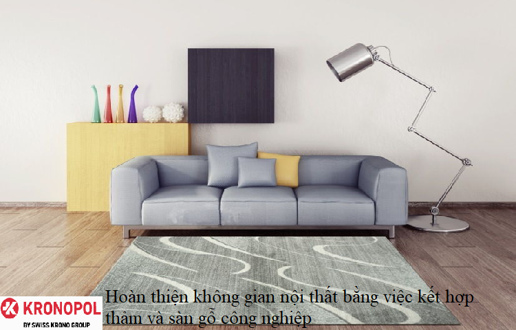 Hoàn thiện không gian nội thất bằng việc kết hợp thảm và sàn gỗ công nghiệp