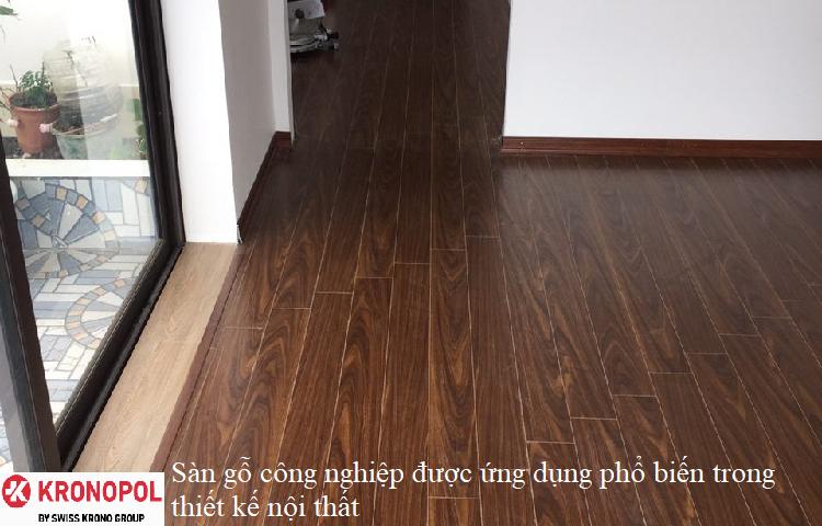 Sàn gỗ công nghiệp được ứng dụng phổ biến trong thiết kế nội thất